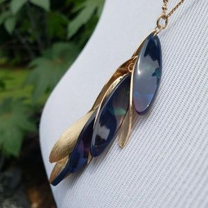 Jewelry - Gold Tone Metal & Navy Acetate Necklace